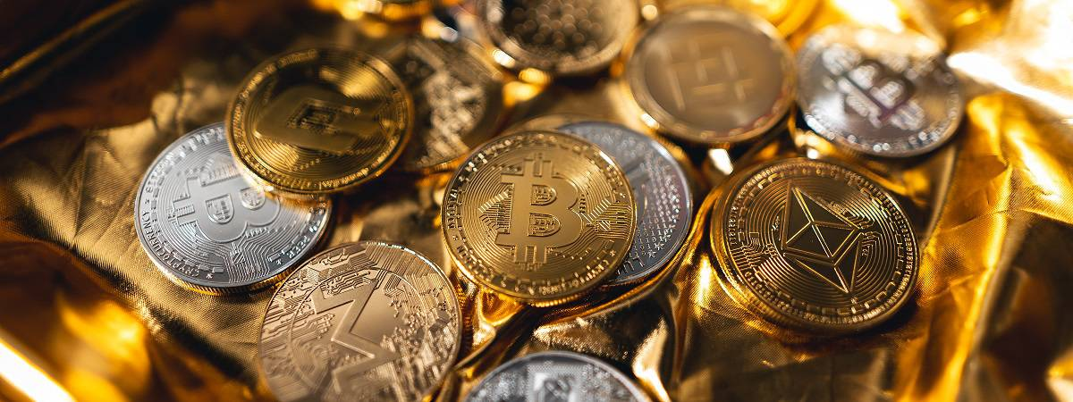 Crypto Coins On Gold Background